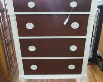 Mahogany & White Dresser tall two toned