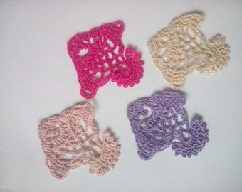 Crochet Tropical Reef Aquarium Fish Applique Set of 4