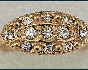 Vintage Gold Tone Clear Rhinestone Cluster Ring