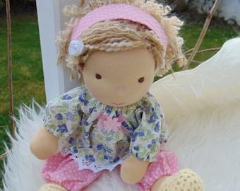 """Waldorf doll, 12,6"""" tall doll, steiner doll, organic doll, fabric doll, cloth doll, handmade"""