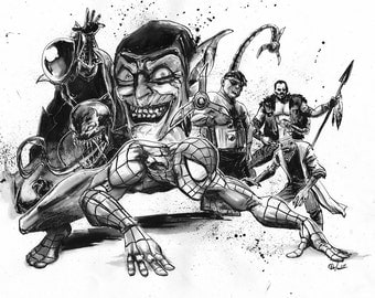 Spider-Man and Villians drawing by Gary Deslauriers