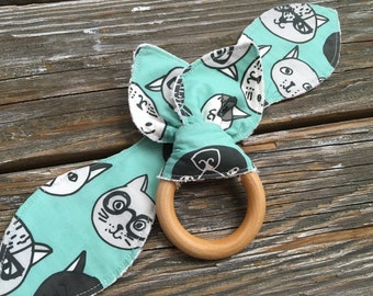 Natural Maple Wood/Teething/Ears/Teether/Toy/Chew/Ring ~ Aqua//Cat//Kitten//Hipster//Geek//Glasses