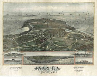 Lands End -  Rockport, Massachusetts- 1880 Birds Eye View -O. H. Bailey & Company Reprint