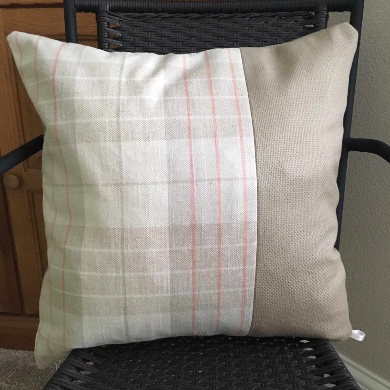 neutral plaid pillow cover 20 x 20 inch plaid pillow. Black Bedroom Furniture Sets. Home Design Ideas