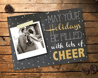 Photo Postcard // Chalkboard Snow and Gold Holiday // DIY Printable
