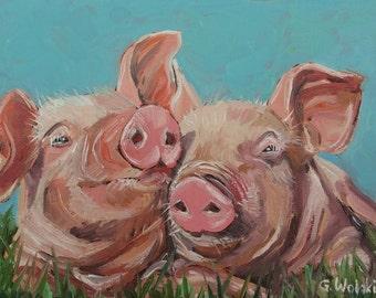 PIGS PAINTING, PIGS oil painting, original painting, farm animals, pigs, wall decor, kitchen decor, nursery decor, baby animals, animal art