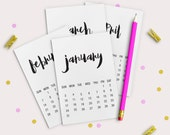 "PRINTABLE:  3""x4"" Brush Script Monthly Calendars - Instant Download - Project Life - Scrapbooking - Planner"