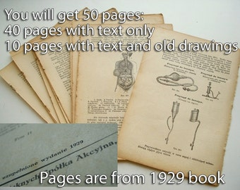 Scrapbooking lot - 50 Antique Book Pages, collage paper, Paper Ephemera, Naturally aged, vintage Supply 1920s old