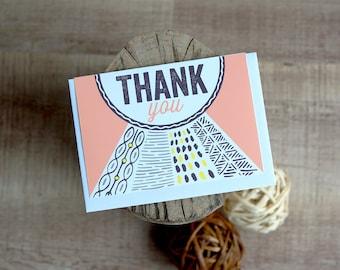 Card Thank You Loose Geometrics peach yellow