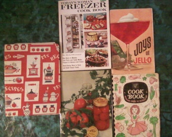 Lot of 5 versatile cooking and preparing meal books. Canning KERR*Jello*Chinese food*Freezer*EHP Waterless cooking* Homemaker* Cooking*Party