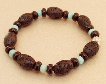 Bracelet lava Onyx apatite
