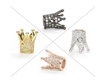 Crown Bead, CZ Pave Bead, 12x13mm, Cubic Zirconia Pave Bead, 1 Piece, CB130