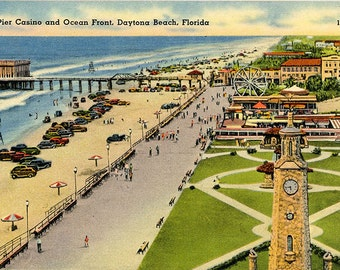 Daytona Beach Florida Pier Casino & Ocean Front Vintage Postcard (unused)
