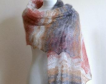 Lace shawl -  hand knitted kidsilk - light beige, brown, brick-red scarf - rectangular - handmade