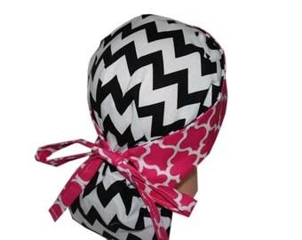 Surgical Scrub Hat Scrub Chef Vet Chemo Cap Front Fold Ponytail Scrub Hat - Black White Chevron Pink - 2nd Item Ships FREE