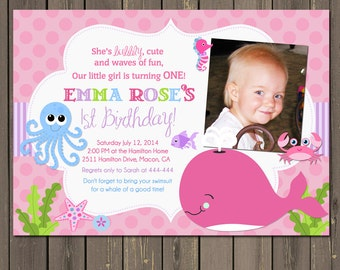 Under the Sea Birthday Invitation, Girls Under the Sea invitation, Ocean friends invite, Pink and Purple Under the Sea Party, DIY or Printed