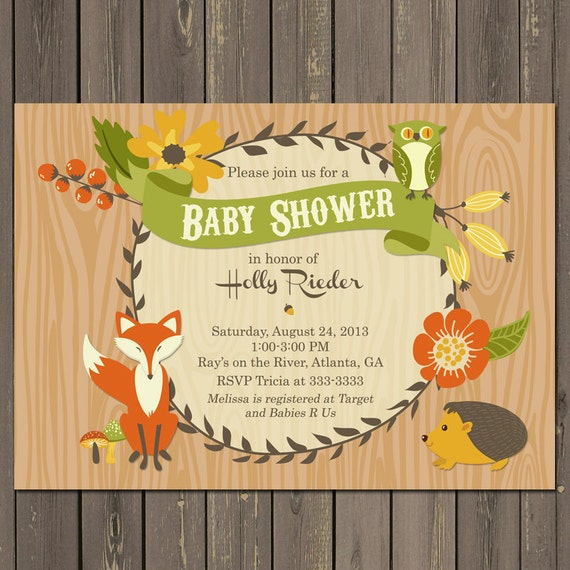 Woodland Baby Shower Invitation Fall Forest Friends Invitation