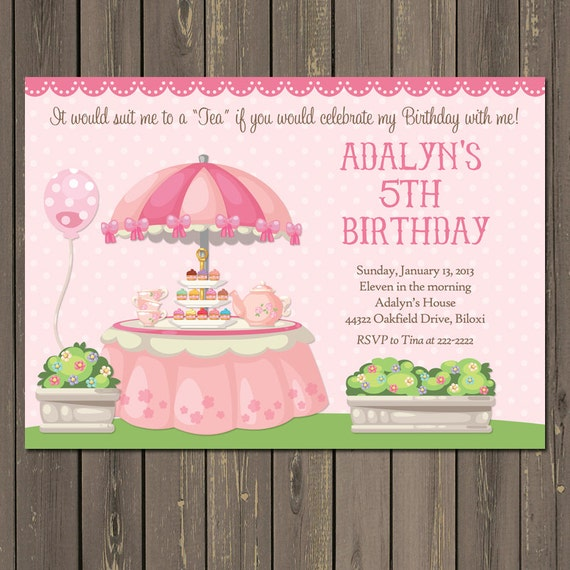 Tea Party Birthday Invitation Girls Tea Party Invitation Pink Tea