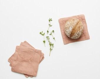 Set of 4 Café Crème Washed Linen Coasters