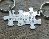 Customized Stainless Steel Puzzle Piece Key Chain Personalized with Coordinates