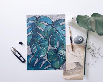 Monstera, monstera - A4 printed illustration of Monstera cheese plant.