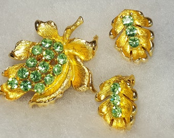 Petite Gold metal clip earrings Brooch shiny citrine color crystals Fall leaves  November birthstones Happy Spring Year Round