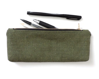 Waxed Canvas Pencil Case Zipper Pencil Pouch Waxed Hemp Recycled