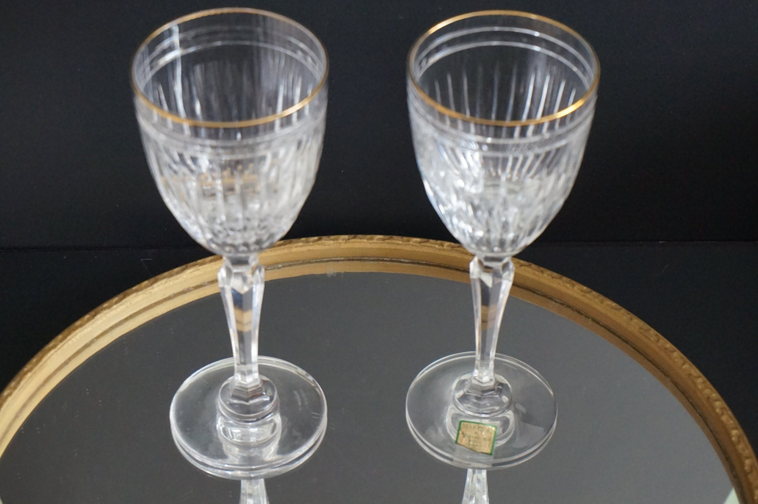 Vintage set of two waterford marquis crystal wine glasses - Wedgwood crystal wine glasses ...