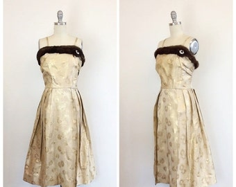 SUMMER SALE /// 50s Gold Brocade Wiggle Dress - 1950s Vintage  Metallic Fur Trimmed Rhinestone Party Dress - Medium - Size 8