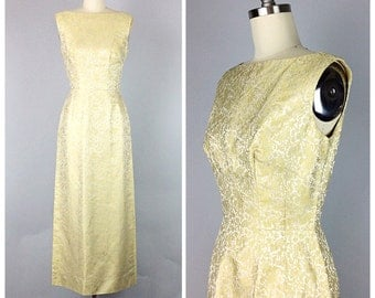60s Margiold Yellow Evening Gown - 1960s Vintage Brocade Floral Print Party Dress - Small - Size 6