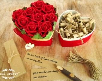 52 reasons I love you because Red Rose Heart Shaped box Valentine's gift Boyfriend Girlfriend Fiance anniversary Wedding Gift