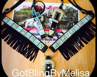 Turq Bling Black Fringe Breast Collar & Headstall Horse Size