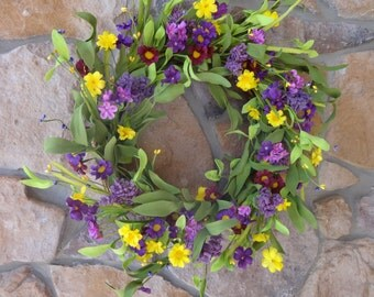 Easter Wreath, Spring Wreath, Summer Wreath, Spring Decor, Grapevine Wreath, Front Door Wreath, Purple and Yellow