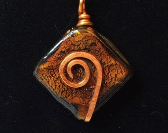 Pendant - Copper Foil Glass and Hammered Copper Wrapped Wire Pendant - FREE SHIPPING