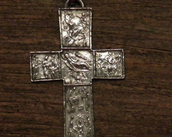 """Antique silver plated Modernism pendant """"the life of Jesus"""""""