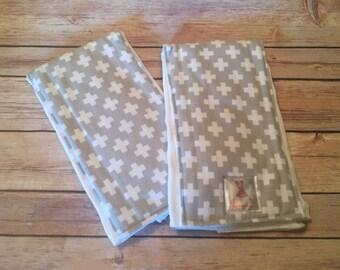 Grey Cross Baby Burp Cloths - Set of 2