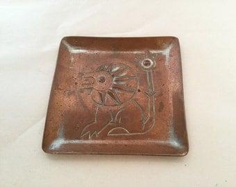 Mid Century Copper Lion Dish