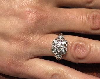 filigree sterling silver diamond ring
