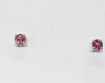 pink tourmaline 14k white gold stud earrings