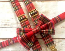 Christmas Bow tie and suspender, Christmas Plaid suspenders and bow Tie, tartan suspenders, toddler bow tie, kids bow tie, red plaid bow