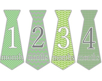 Month Tie Stickers, Green Baby Shower Gift Ideas, Set of 12 Baby Tie Stickers