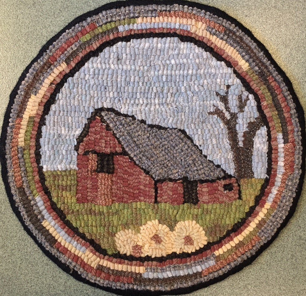 Rug Hooking Pattern For Old Barn 1 Chair Pad On
