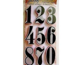 Tim Holtz NUMERIC Red Rubber Cling Stamps Numbers cc02
