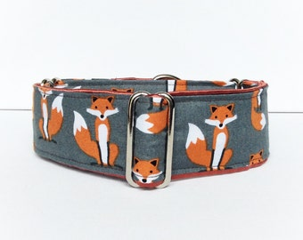 Foxes martingale collar (dog collar, greyhound martingale, grey, flannel, rust, adorable, cute, automn, illustration, print, cotton)