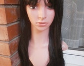 black long stright  wig sintetic party hair