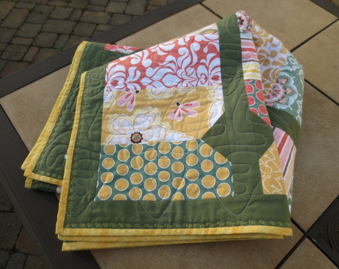 Modern Diamond Quilt Throw - Handmade - Valencia Fabric Collection -  Riley Blake - Coral, Green, Yellow - Ready to Ship