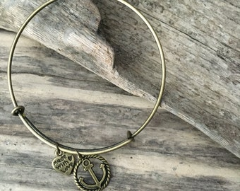 Antique Brass Anchor Bangle Charm Bracelet