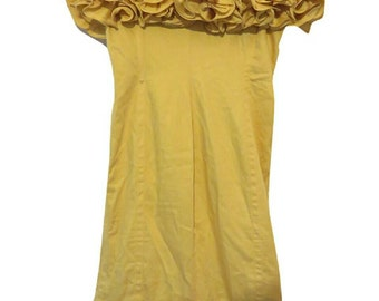 80's Vintage Yellow Frill Dress Size S Made In Italy