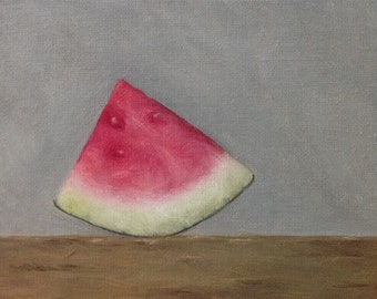 Oil painting: Watermelon 6x4""