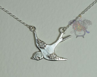 Sterling Silver Swallow Charm Pendant Necklace